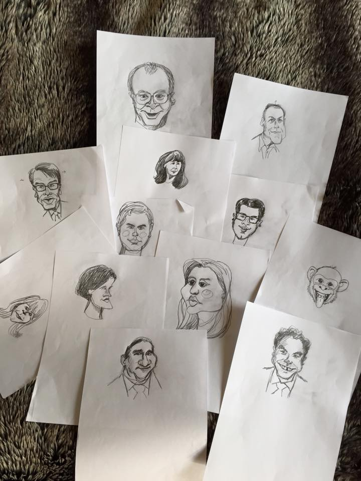 Handritade skisser på politikerna