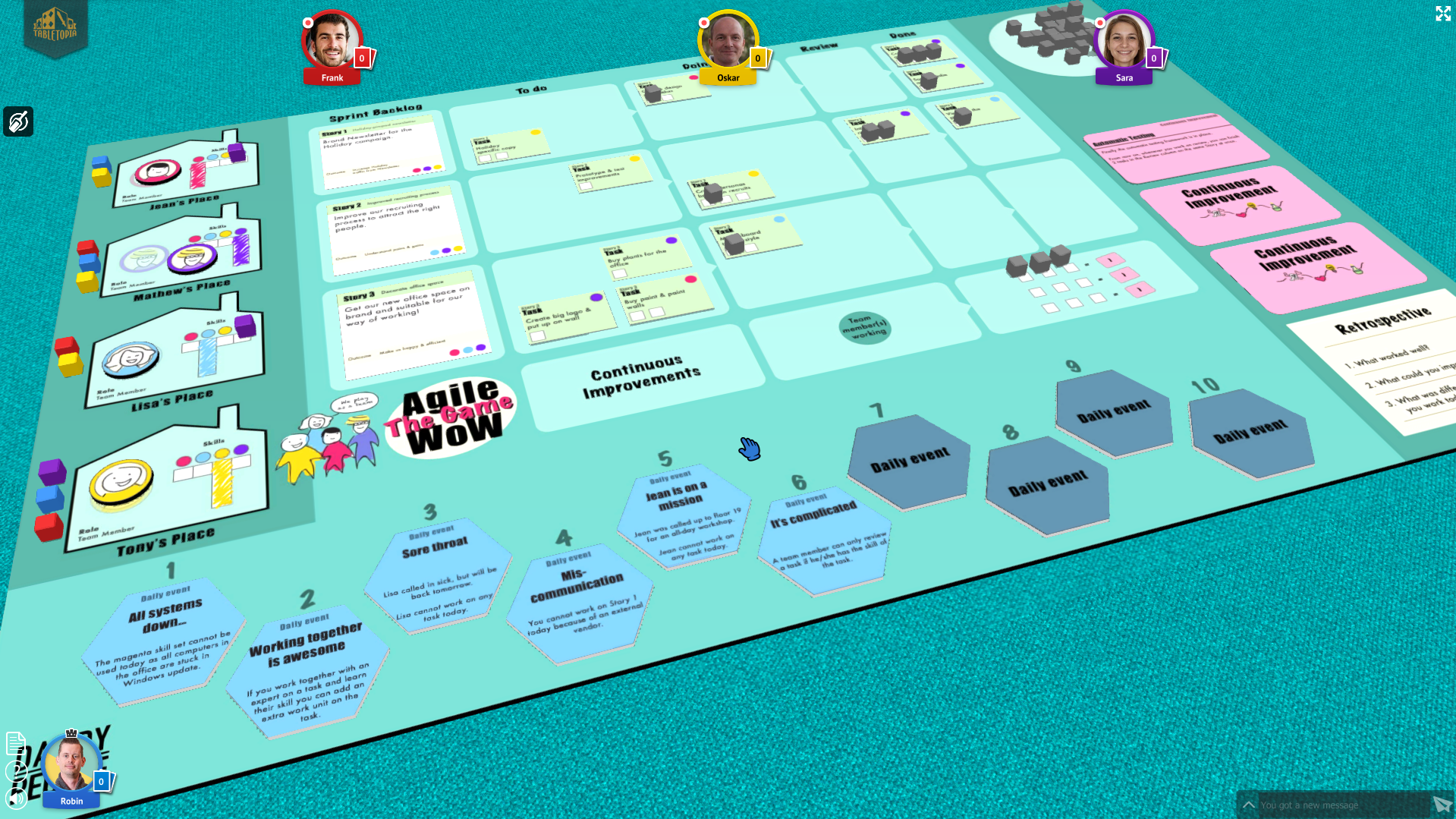 Screenshot from Agile WoW The Game on Tabletopia
